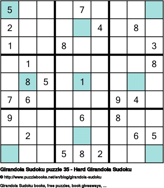 Girandola Sudoku puzzle 35 - Hard Girandola Sudoku